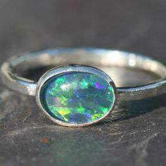 Blue Green Opal Ring Oxidized Silver by MaggieMcManeDesigns, $56.00