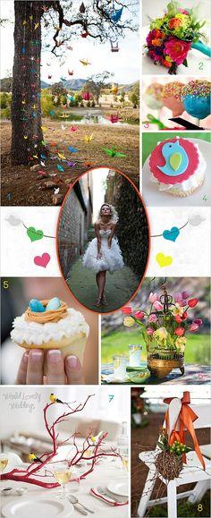 Board Inspiration Blue, Green, Pink, Orange & Yellow Birds Wedding ; Inspiración para boda en tonos azules, verdes, rosas, naranjas y amarillos; con temática de aves.