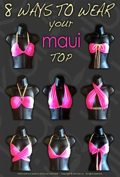 Maui Bikini--Flamingo/Poppy Any Maui Bikini Top can be worn in 8 ways!! www.kaiulu.com