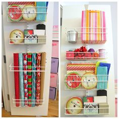 Storage Behind Closed Doors. Great idea to store wrapping paper and ribbon after Christmas