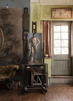 Charleston Farm, East Sussex, UK, former home of Duncan Grant (who painted the nude in the photo) and Clive and Vanessa Bell (Virginia Woolf's sister), members of the Bloomsbury Group.