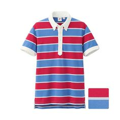 UNIQLO x Michael Bastian MEN MB Washed Short Sleeve Polo Shirt - Red + Blue Stripe