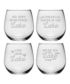 This Lake Talk Stemless 16.75-Oz. Wine Glass - Set of Four is perfect! #zulilyfinds
