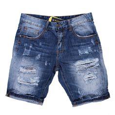 мъжки къси панталони DESTROY,Удобен мъжки къс панталон от дънков плат, изтрит и с кръпки за по-интересно излъчване.