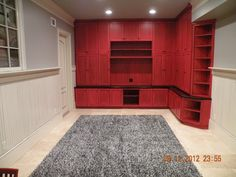 Red/distressed/glazed custom built-in and glazed beadboard and trim Interior Rendering, Interior Design, Bunkhouse, Custom Canvas, Canvas Artwork, Future, Outdoor Decor, Projects, Red