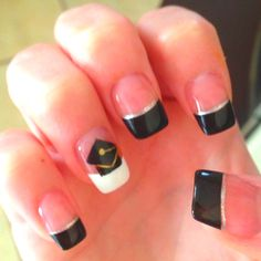 Graduation Nails! :) gold for NHS and black and silver school colors.