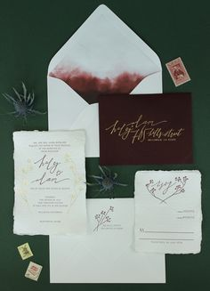 Calligraphy and Watercolor Wedding Invitations #watercolor #invitations #wedding #inspiration #calligraphy