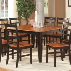 Wooden Imports PFL07-T-Bl&ch Parfait Square Table with 18 in. Butterfly Leaf - Black and Cherry, As Shown