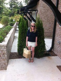 forever 21 navy cotton sweater  zara lace shorts  mar y sol straw tote  dee keller bow flats    www.acupoflindsayjo.com