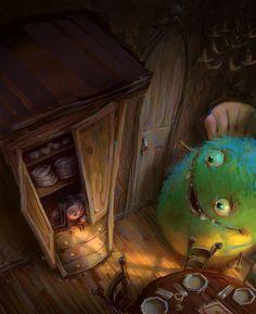 art, illustration, // HideAndSeek by ~MarcoBucci Monster Illustration, Cute Illustration, Cute Monsters, Little Monsters, Storyboard, Arte Horror, Monster Art, Whimsical Art, Cute Art