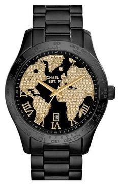 MICHAEL Michael Kors Michael Kors 'Layton' Pavé World Dial Bracelet Watch, 44mm available at #Nordstrom