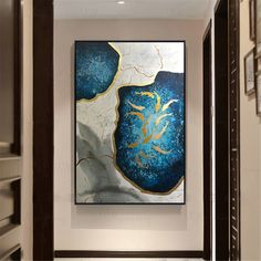 Gold leaf abstract painting on canvas wall art pictures for living room home wall decor original acrylic gold fish blue texture quadro decor Acrylic Canvas, Abstract Canvas, Canvas Wall Art, Blue Canvas, Blue Painting, Oil Painting Abstract, Unique Paintings, Art Paintings, Blue Texture