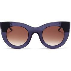 Thierry Lasry 'Cheeky' matte temple acetate cat eye sunglasses ($435) ❤ liked on Polyvore featuring accessories, eyewear, sunglasses, glasses, purple, cateye glasses, clear eyewear, acetate sunglasses, acetate glasses and clear cat eye glasses