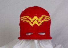 Custom Knit Wonder Woman Hat with Eye Mask by AllStringsbyAmy, $18.00
