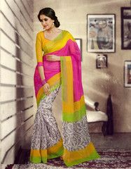 #Pink and yellow colour #bhagalpuri net #saree #sari for your devotional times of family. #2014