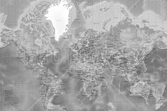 World Map - Detailed with Roads - Grey - Canvas Print