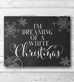 White Christmas decor, wall art print, printable decoration, holiday print, Christmas chalkboard INSTANT DOWNLOAD