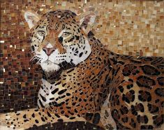 Julie Mazzoni, The Golden Leopard. Stained glass with gold smalti peppered…