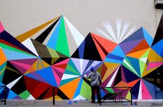 geometric wall... Would love this for my wall going up stairs.