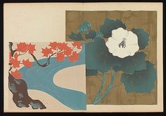 "Kôrin-style Patterns (Kôrin moyô), 1907, Furuya Kôrin (Japanese, 1875-1910). From the Met Museum description: ""The two volumes of this book contain a wide array of textile patterns inspired by works in the Rinpa style. They were intended as sample books for Kyoto kimono manufacturers, and for delectation by anyone interested in the latest fashion trends, even revival styles."" On view installation 1 and 2, May 26, 2012–January 13, 2013."