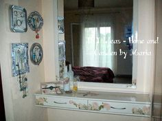 DIY Ideas - Home and Garden by Maria: Decoupage - Ντεκουπάζ - Μεταμόρφωση Ξύλινου Επίπλου Σε Κρεβατοκάμαρα. Decoupage, Double Vanity, Home And Garden, Diy, Bricolage, Do It Yourself, Homemade, Diys, Double Sink Vanity