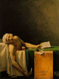 The Death of Marat (La Mort de Marat), Jacques-Louis David, 1793.  Oil on canvas, 65 cm × 128 cm (65 in × 50 in), housed in the Royal Museums of Fine Arts of Belgium, Brussels.