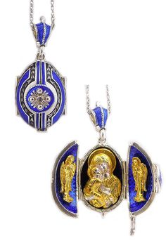 Religious Jewelry & Rosaries: Cobalt Blue Virgin Mary Locket | Monastery Icons