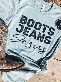 <meta Jeans, and Jesus. We are loving this Buckin' Barn T-Shirt! Pair this with your favorite cutoff denim shorts and Western Boots! </span><br><br>This is a custom made item and ships within 2 to 4 weeks! Country Girl Shirts, Country Style Outfits, Southern Outfits, Country Fashion, Western Shirts, Cowgirl Shirts, Rodeo Shirts, Cowgirl Clothing, Cowgirl Fashion