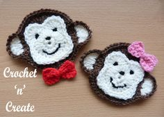 monkey face appliqué http://crochetncreate.com/monkey-face-applique/