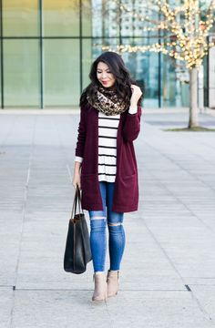 Burgundy cardigan outfit, striped top, leopard scarf, fall outfit, petite fashion blog