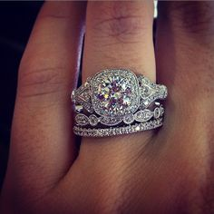 Antique Style Halo Engagement Ring. WOW.