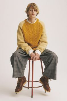 The North Face Purple Label Cable Crew Neck Sweater Band Collar Shirt Wool Polyester Wide Pants Soft Grunge, Grunge Style, Tokyo Street Fashion, Mori Girl, Vivienne Westwood, Looks Style, My Style, Banded Collar Shirts, Streetwear