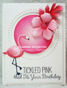 Card by Tammy Edgerton  (060815)  [My Favorite Things  (dies)  Die-Namics Blueprints 24, Hibiscus,  LLD Flamingo, Stichable Dot Circle STAX, Stitched Circle STAX;  (stamps)  LLD Tickled Pink]