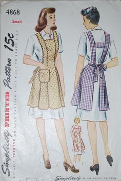 Simplicity 4868. ©1943; Apron front is cut in 3 sections, and the skirt back is joined to the back belt. A band holds the back shoulder straps in place, and the sash ends are gathered to the back of the belt. The apron front is trimmed with a convenient pocket. Scallops outline the lower edge of style 1, and rick-rack may be used for trimming either style. [insert your photos of this pattern made up]