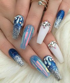 Shades of blue nail art design on coffin nails with rhinestones | Shattered glass nail art | with glitter