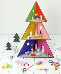 Navidades de cartón. Hazlo tú mismo: Árbol de Navidad de cartón y casa de muñecas
