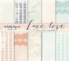 Digital Paper Lace styled Scrapbook paper by LovelyDaysCreative, $5.00