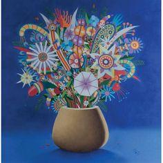 Roberto Magalhães - Vaso de Flores - óleo s/ tela - 60 x 60 cm - ass. inferior direito