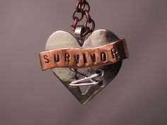 """Survivor"" Banner Open-Heart Pendant This piece was designed to symbolize the pride of those who survived of open-heart surgery. The German silver heart was made open with sterling silver wire to resemble stitching. The banner is copper. Survivor Necklace, Survivor Tattoo, How To Get Slim, Surgery Gift, Open Heart Surgery, Congenital Heart Defect, Surgery Recovery, Diy Gifts For Boyfriend, Pendant"