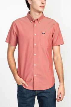 The RVCA That'll Do Oxford is a slim fit, short sleeve, button down woven shirt with one patch pocket at left chest and buttons on the collar points. It...
