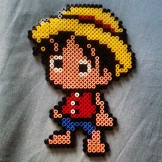 Chibi Luffy - One Piece hama beads by otaku_eva