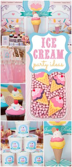 Check out this pastel ice cream party! What an incredible cake! See more party ideas at CatchMyParty.com!