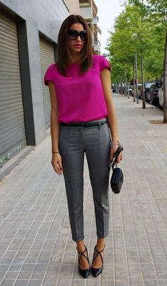 Bright, pink short sleeve blouse with grey, black, white or navy bottoms