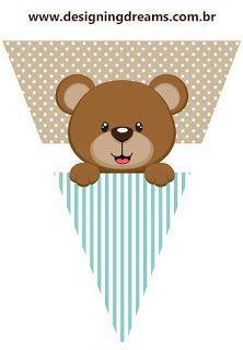 Kit Festa pronta para  Chá de Bebê tema ursinho: grátis para imprimir