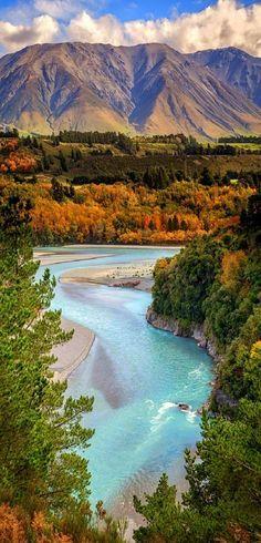 Rakaia River at Rakaia Gorge - Canterbury Region, New Zealand...