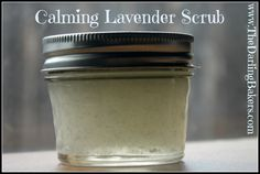DIY Calming Lavender Scrub Ingredients: 1/2 Cup Epsom salts (buy here) 1/3 Cup carrier oil (I use jojoba) 4 drops essential oil (I used lavender, but chamomile would be wonderful too) Method: Stir ingredients together in a non-reactive bowl. Spoon into glass jar.
