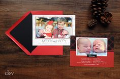 Red Christmas photo card twins birth announcement by Catherine Kiff-Vozza, Couture Stationer #ckv