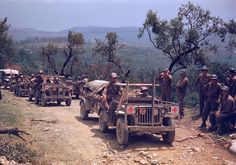 A column of American medical vehicles during the drive towards Rome, World War II