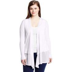 DKNYC Women's Plus-Size Long Sleeve Covering with Sheer Layer