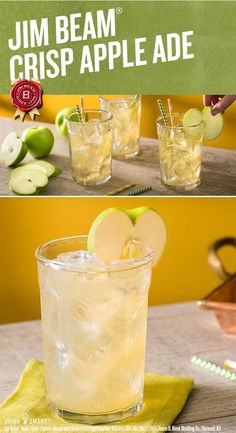 Mix your next party in a fresh new way. Try with club soda and a squeeze of fresh lemonade for a crisp combination.  Jim Beam® Apple, Apple Liqueur infused with Kentucky Straight Bourbon Whiskey, 35% Alc./Vol. ©2017 James B. Beam Distilling Co., Clermont, KY